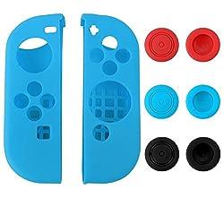 eXtremeRate® Custodia Protettiva in Silicone Custodie Protettive per Gel per Nintendo Switch Joy-Con Protector Protector Kit Protezione Blu