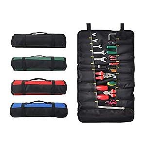QEES 38 bolsillos Herramienta Rollo Bolsa de herramientas multiusos plegable portátil llevar bolsa de lona (para electricistas/herramientas de jardín (gjb01), verde