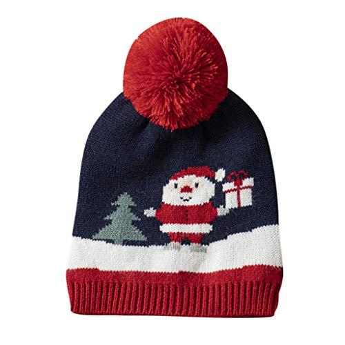 Cuteelf Kinder Winter Ohrenschützer Strickmütze Streifen Hut Weihnachten Kind Mädchen und Jungen Baby Gestreifte Baby Weihnachten Häkeln Hut Hut Ball Mütze