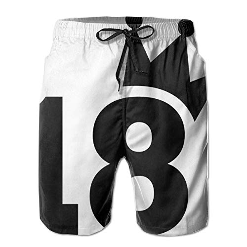 jiger Mens Summer Cool Quick Dry Board Shorts Bathing Suit, Cartoon Soccer Jersey Seem Bold 18 Number Party Art Print Black and White,Beach Shorts Swim Trunks XXL -