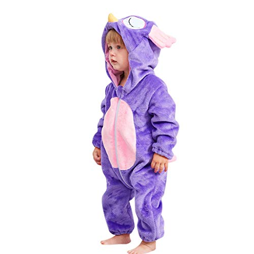 073718fe2f4d9 Innerternet Nouveau-né bébé Fille garçon Cartoon Animal à Capuchon Flannel  Barboteuse Jumpsuit.