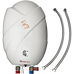 Bajaj Flora 3L 3kW ABS Plastic Instant Water Heater with 24-inch Stainless Steel Connection Pipes (White)