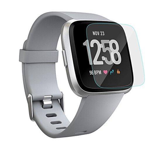 FBGood 2 Stück Transparent HD Displayschutzfolie mit Anti-Bubbles, Anti-Fingerprint, Anti-Scratch, Anti-Öl, Anti-Shatter Klar Uhr Bildschirm Beschützer für Fitbit Versa (Samsung Gear 2 Ersatz-bildschirm)