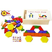 Toys of Wood Oxford Wooden Pattern Blocks and Puzzle 60 Pieces Geometric Shapes in Wooden Box - Wooden Shape Sorter Tangram Puzzles - Geometric Shape Puzzle 3 4 5 years old
