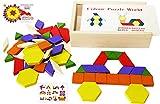 Toys of Wood Oxford 60 Formine Geometriche in Legno per Creare Forme e Abbinamenti - in Una Scatola di Legno - Gioco Tangram di Selezione di Forme - Forme Geometriche per Bambini di 3, 4, 5 Anni