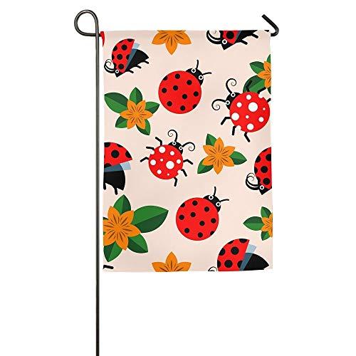 HujuTM Ladybugs and Flowers Home Garden Indoor/Outdoor Flags 18\
