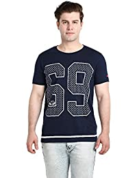 LNDN HOUR Half Sleeves New DIVINE Stylish Chest Print, Round Neck Cotton Tshirt, Latest High Quality Fashion Garments For Mens / Boys. Navy Blue Colour
