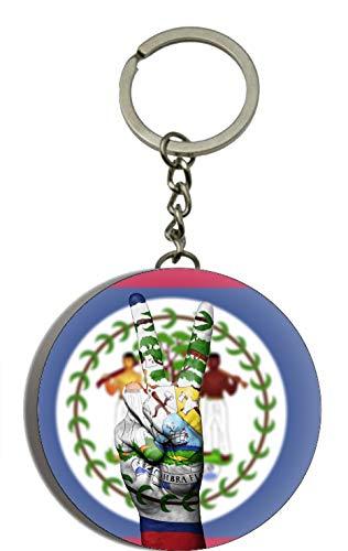 Gifts & Gadgets Co. Belize Flagge mit Hand Peace Zeichen Schlüsselanhänger Flaschenöffner Schlüsselanhänger 58 mm
