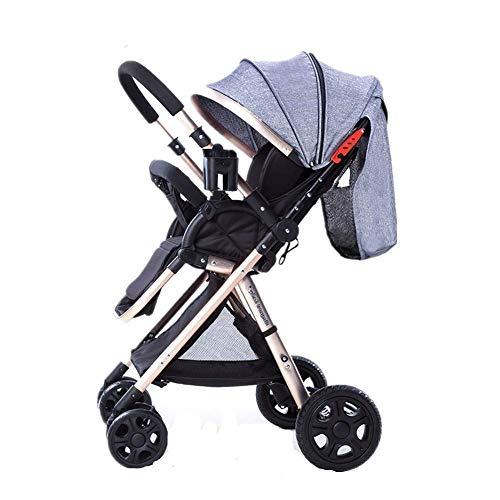 Carritos de bebé Vista alta Carrito para bebé Portátil ultraligero Plegable Siéntese Pliegue bidireccional de cuatro ruedas Carro para bebés, 50x107cm (Color : Gray)