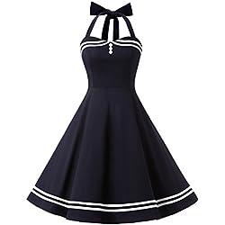 Timormode Rockabilly Kleider Neckholder 50s Vintage Kleid Retro Knielang Kleider Damenkleider Festlich Cocktailkleider 10387 Marineblau XS