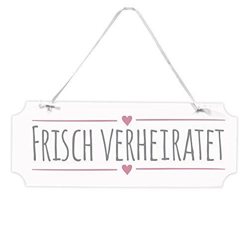 Frau WUNDERVoll® Schild FRISCH VERHEIRATET, 40 x 15 cm/Wegweiser, Hochzeit Vintage, Hochzeitsschild, Kirche, Standesamt, Stuhldekoration, Hochzeitsgeschenke Brautpaar Schild