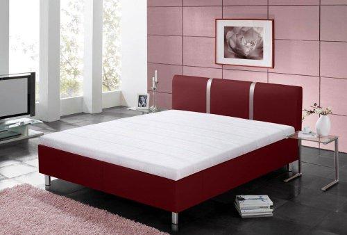 lifestyle4living Polsterbett in Rot aus Kunstleder | Bett in 180x200 mit Kopfteil | Doppelbett hat Füße aus Metall