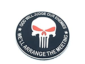 Punisher God Will Judge Our Enemies Noir PVC Airsoft Patch