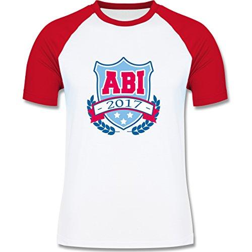 Abi & Abschluss - ABI 2017 Badge - zweifarbiges Baseballshirt für Männer Weiß/Rot