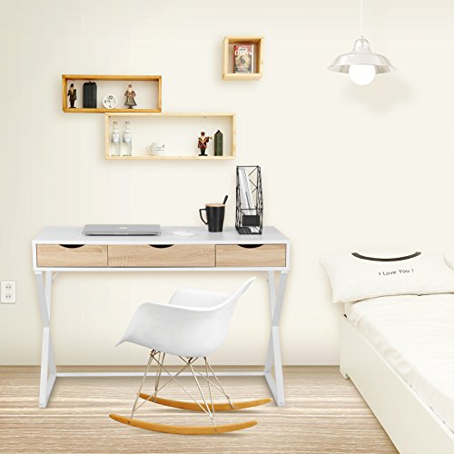 WOLTU® Schreibtisch TS40ws Computertisch Bürotisch Arbeitstisch PC Laptop Tisch, in Melamin, mit 3