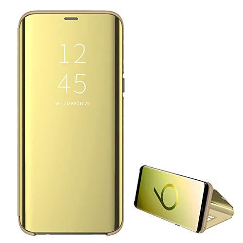 Hülle Kompatibel mit Galaxy S10 Galaxy S10 Plus Handyhülle Spiegeln PU Leder Flip Hülle Ständer Clear View Spiegel Überzug PC Schutzhülle mit Hart Standfunktion (Galaxy S10 Plus, Gold) Gold Handy Cover