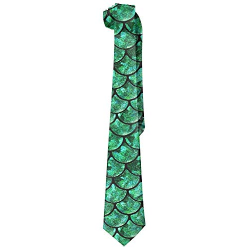 Bright Green Pastel Mermaid Men's Tie Long Necktie Skinny Neckwear Silk