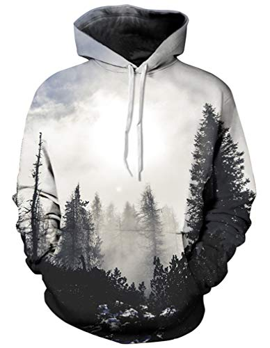 Kapuzenpullover Hoodie Halloween Cosplay Sweatshirt Hooded Sweat Einzigartig Galaxie Pullover (S/M (Brustumfang: 112-132CM), Grauer Wald) ()