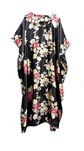 (14703) Fionalissa Donna Colore Nero con oro/rosso motivo floreale morbido raso di seta lungo caftano Fuschia Un formato più