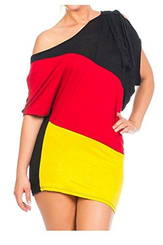 Damen Flaggen one-Shoulder Asymmetrisch Deutschland Minikleid Mini Kleid Long Shirt Bluse Tunika Fan EM WM Fußball Trikot SM 34 36 Multicolor 34/36/38 (Einheitsgröße) multicolor (Fußball-kleid)
