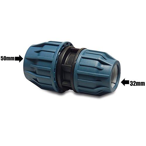 MDPE plastica Raccordo a compressione Ridurre Fitting accoppiatore di accoppiamento per tubi dell' acqua 50MM a 32mm