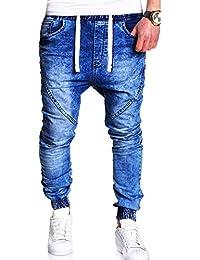 Moda Uomo Casual Vintage Elastic Wash Denim Slim Afflitto Pantaloni Jeans-  Uomo Sottile Biker Jeans 5404b295bb85