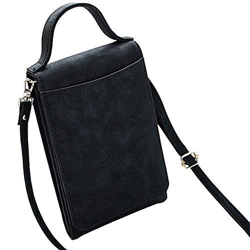 Coopay Damenhandtaschen Klein,Handtasche mit Schultergurt,Premium Multifunktion Kunstleder Shoulder Bags,Handy Geldbörse Geldbeutel für Huawei Honor Sony Wiko Nokia LG iPhone Galaxy Xiaomi - Schwarz