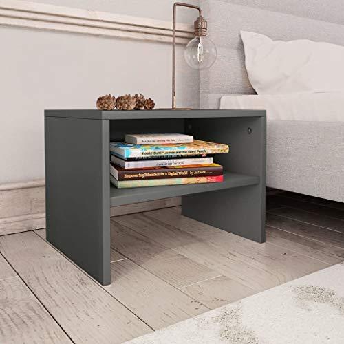 Festnight Nachttisch Grau 40 x 30 x 30 cm Spanplatte Nachtschrank Schreibtisch Couchtisch Schlafzimmermöbel Mit einem offenen Fach