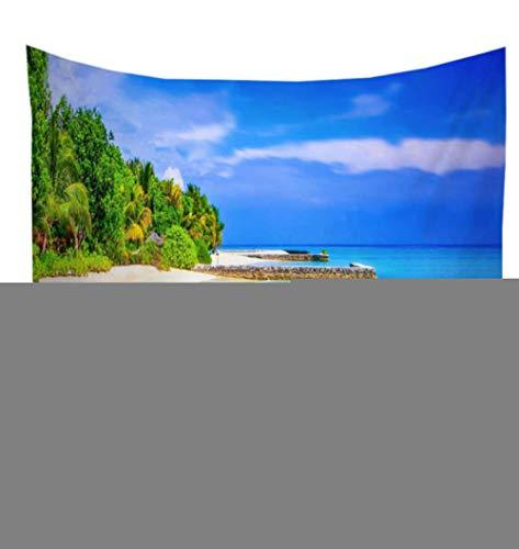 wrhua Wave Palm Island Baum Muster Tapisserie Wandbehang Hawaiian Style Decke Tapisserie Wohnzimmer Bauernhaus Dekoration 200 * 150 cm - Palm-baum-muster