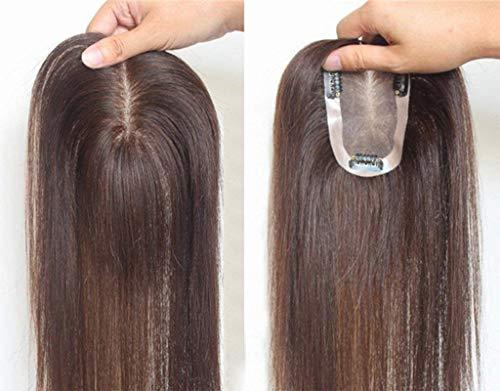 Parrucca con capelli umani, parrucchino con clip, per donne con capelli radi o bianchi, 7x 11cm