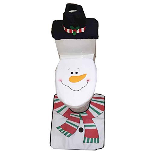 (Keysui Weihnachtsschmuck wc dekoration set, 3 pcs/set Weihnachts Badezimmer toiletten Sitzbezug, Teppich & Taschentuchbox-Set)