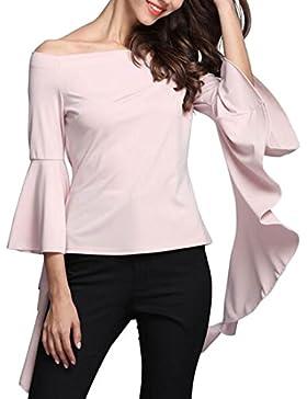 Entrega gratis Mujeres fuera del hombro de cuello de barco Tops Color sólido Falbala corto Blusa