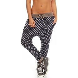 malito Pantaloni Boyfriend en el Punto-Design Baggy Aladin Bombacho Sudadera Yoga 8520 Mujer Talla Única (fango)