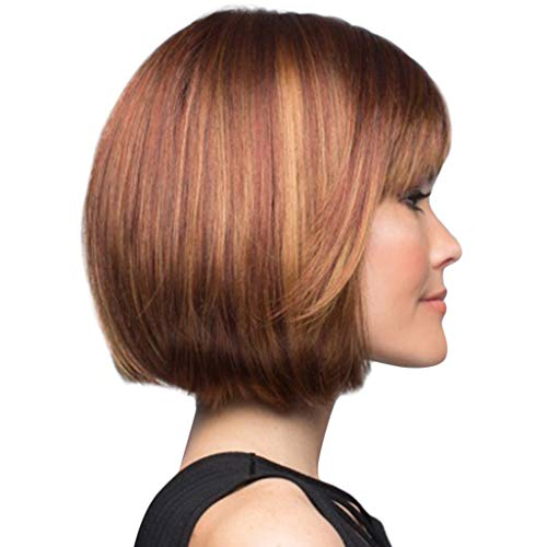 (Mode neu BoBo Kopf Hoch temperaturseide Perücke, Bluestercool Mode synthetische lockige braune gerade Perücke für Frauen)