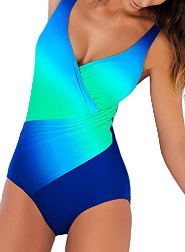 Happy Sailed Womens Gradient Color V Neck Twist Front One Piece Swimsuit