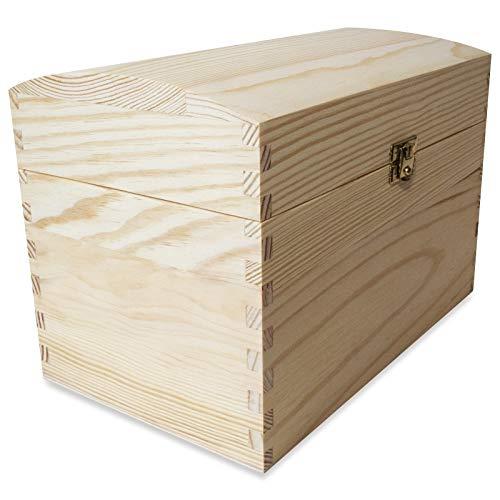 Creative Deco Grande Coffre Boîte de Rangement Bois | 25 x 15 x 17 cm | Non Peinte Caisse Malle pour Décorer | avec Couvercle Courbé | Parfait pour Les Jouets, Outils, Documents et Objets