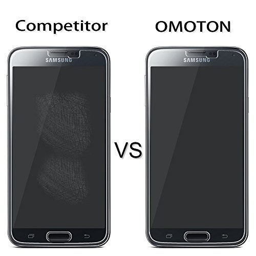 [2 Stück] OMOTON Panzerglas Displayschutzfolie für Samsung Galaxy S5, Anti-Kratzen, Anti-Öl, Anti-Bläschen, lebenslange Garantie - 6