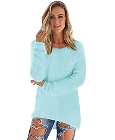 Pull Long Maille Femme Pull Tunique Manches Longues Col Rond Chaud Hiver Epais Pull Mohair Robe Habillé Sweater Tricot Chandail Jumper Tops Automne Bleu Ciel L