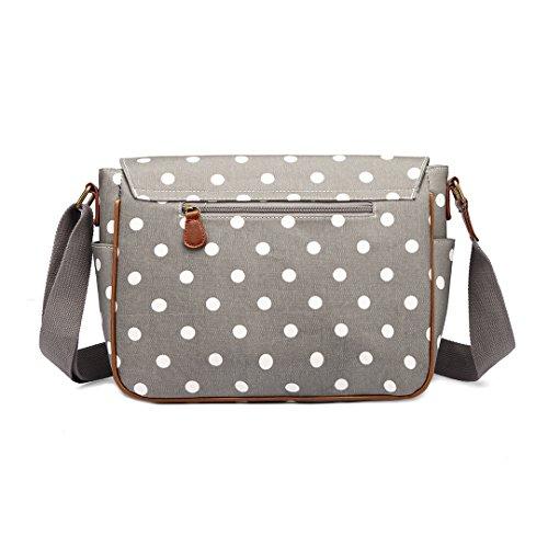 donna unica Dots tracolla Taglia Bag Lulu Miss Polka Borsa a Grey 1nwqfqxIY