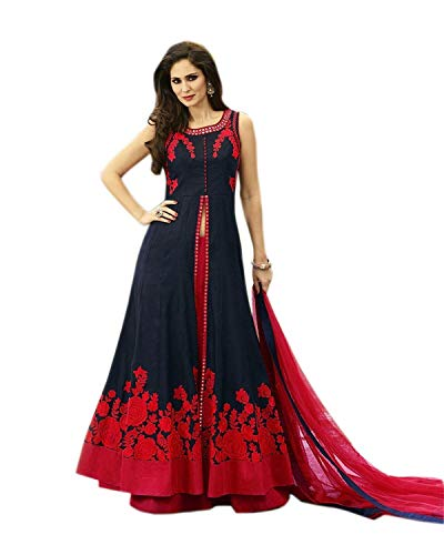 Salwar Style Women's Raw Silk Semi-Stitched Lehanga Choli (BH1002 _Sky Blue_ Free Size)