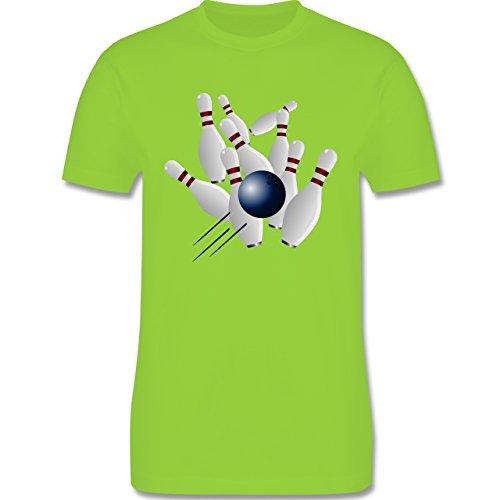 Bowling & Kegeln - Bowling Strike Pins Ball - Herren Premium T-Shirt Hellgrün
