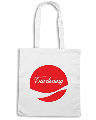 T-Shirtshock - Borsa Shopping ENJOY0056 Enjoy Gardening Bianco