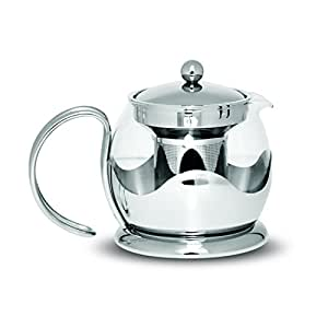 Stainless Steel Chrome Glass Teapot with Infuser 700ml