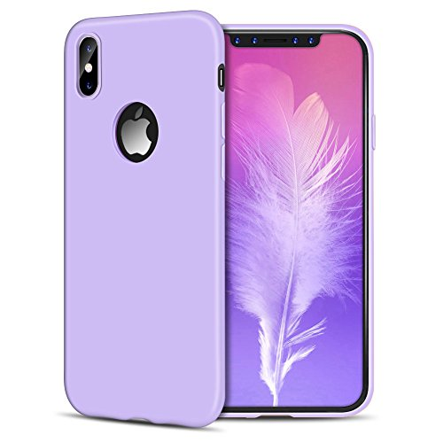 2 * Cover iPhone X iPhone Custodia TPU Handy Moda Elegante Case Soft Silicone Back Cover Protezione Bumper Funzione Shell Morbida Flessible Spiritsun Cover Per iPhone X (5.8 Pollici) Phone Custodia -  Viola + Nero