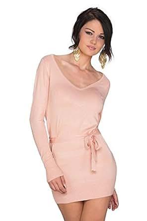 901 Fashion4Young Damen Strick Minikleid Häkel-Spitzen-Einsatz Pullover dress in 5 Farben Gr. 36/38 (36/38, Apricot)