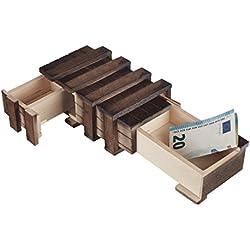 Zauberhafte Holzgeschenkbox - mit 2 Fächern zum kreativen Verschenken von Gutscheinen, Schmuck und Geld (mit 2 beweglichen Teilen)