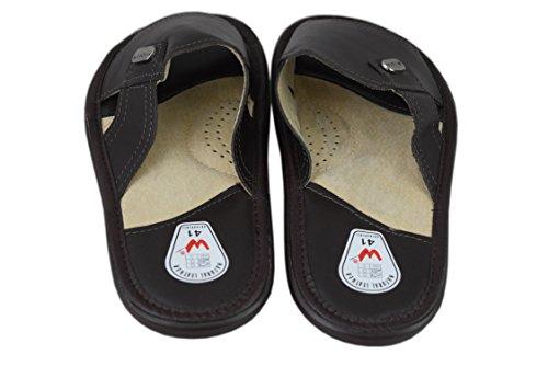 Natleat Slippers  Genuine Soft Calf Leather Sandals Flip-flop, Sandales pour homme Noir noir Noir - marron