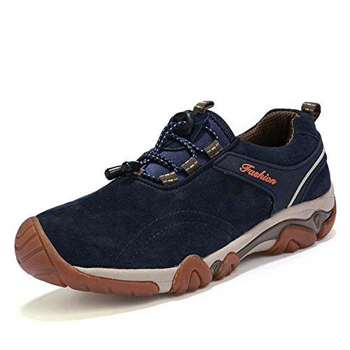 Pompe Chaussures de randonnée étanches Sneker Hommes Cuir respirant Pure couleur Cordon à corder Chaussures d'extérieur Chaussures décontractées Escalade Shoess Casual Taille 38-44