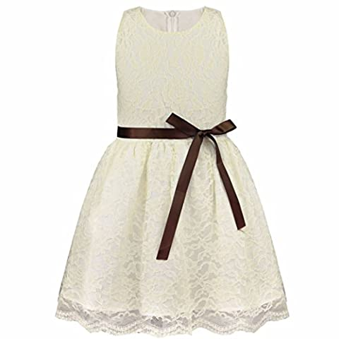 Freebily Kinder mädchen kleid festlich kinderkleid Blumensmädchenkleid Sommerkleid Hochzeit Prinzessin Kleid Partykleid für Mädchen in Gr. 80-140 Beige 86 (12-18 Monate)
