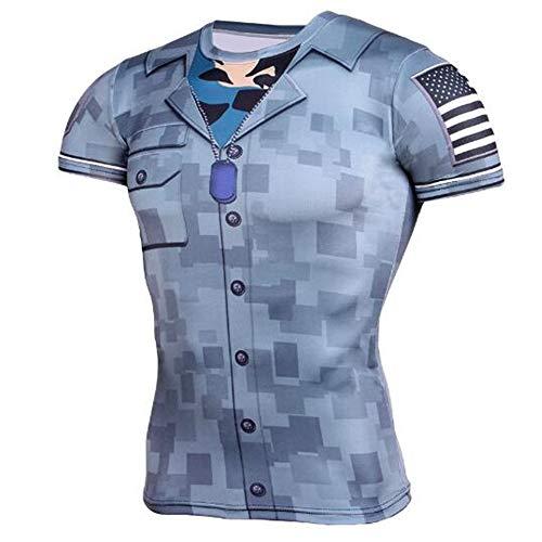 Sommer Kurzarm T-Shirts Top T Bluse Beiläufige Dünne Sport T-Shirt Männer Jungen T-Shirt Top,Fitness Strumpfhose - A Blue 3XL -